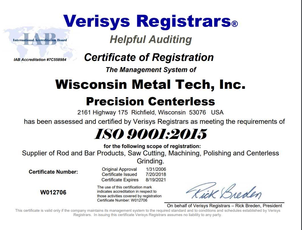 iso 9001 certification wisconsin metal tech